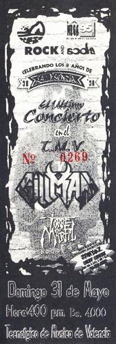 Entrada para el concierto en el TMV (31 de mayo de 1998)